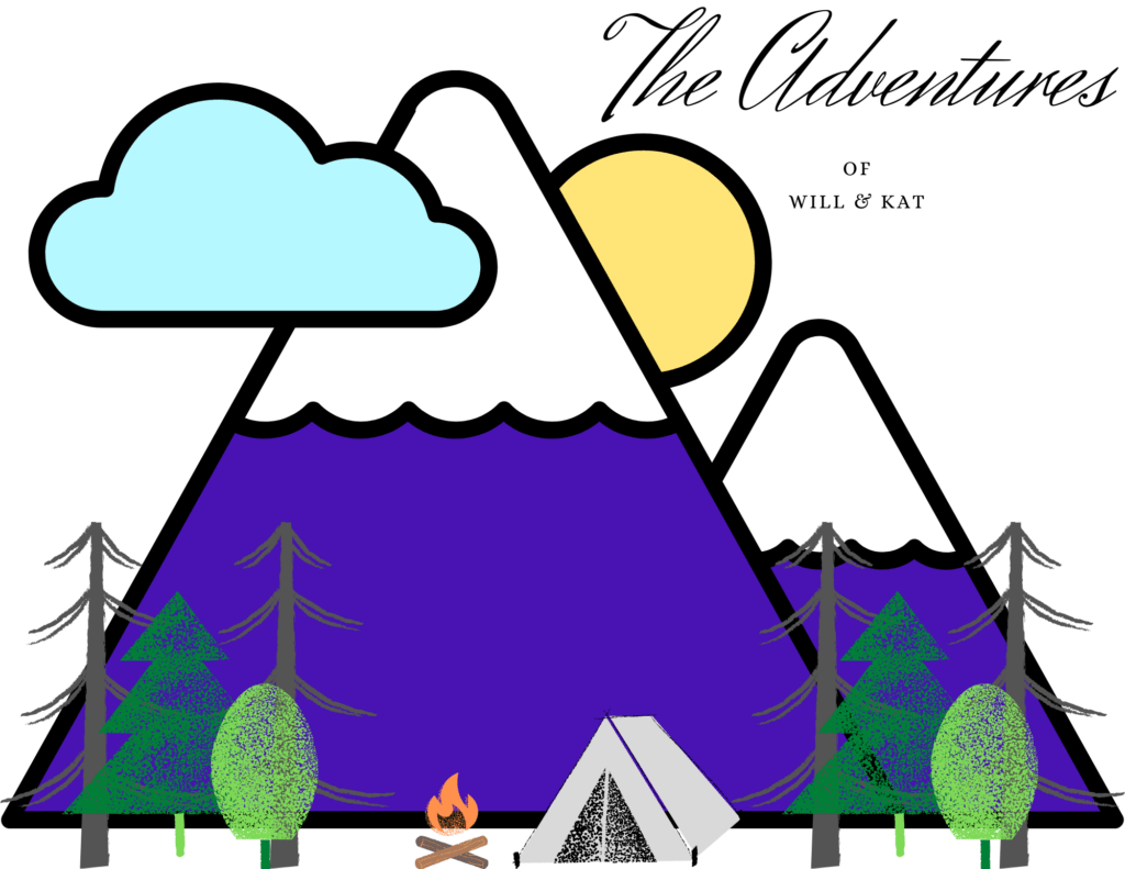 A mountain with a small forest with a campsite saying: The Adventures of Will and Kat