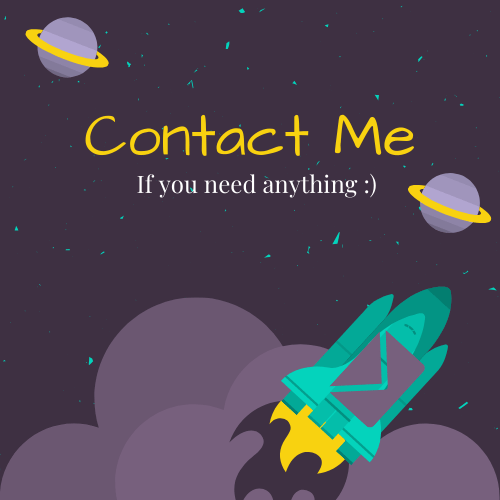 Photo that says contact me if you need anything with a envelop stuck to a rocket flying through space